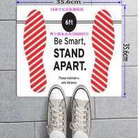 社交距离警示地板贴纸加工